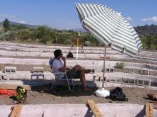 Researcher under beach umbrella